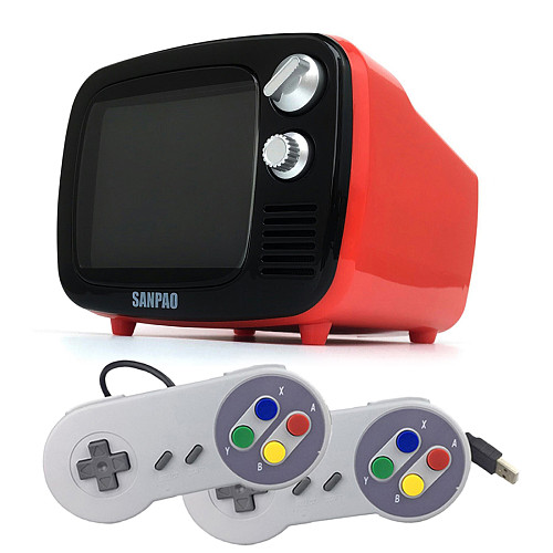 Sanpao Mini Retro TV Portable Game Console Android 7.1 System Watch TV (2pcs SFC Wired Gamepads)