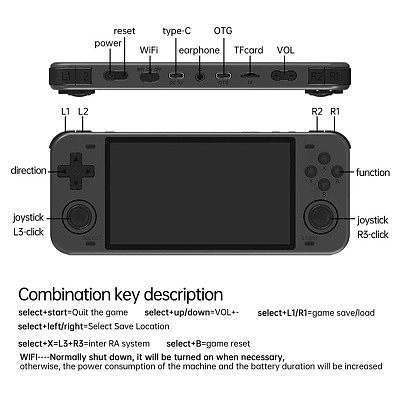 PowKiddy RGB10 MAX Handheld 5-Inch WiFi Retro Open Source Game Console with Built-in Games