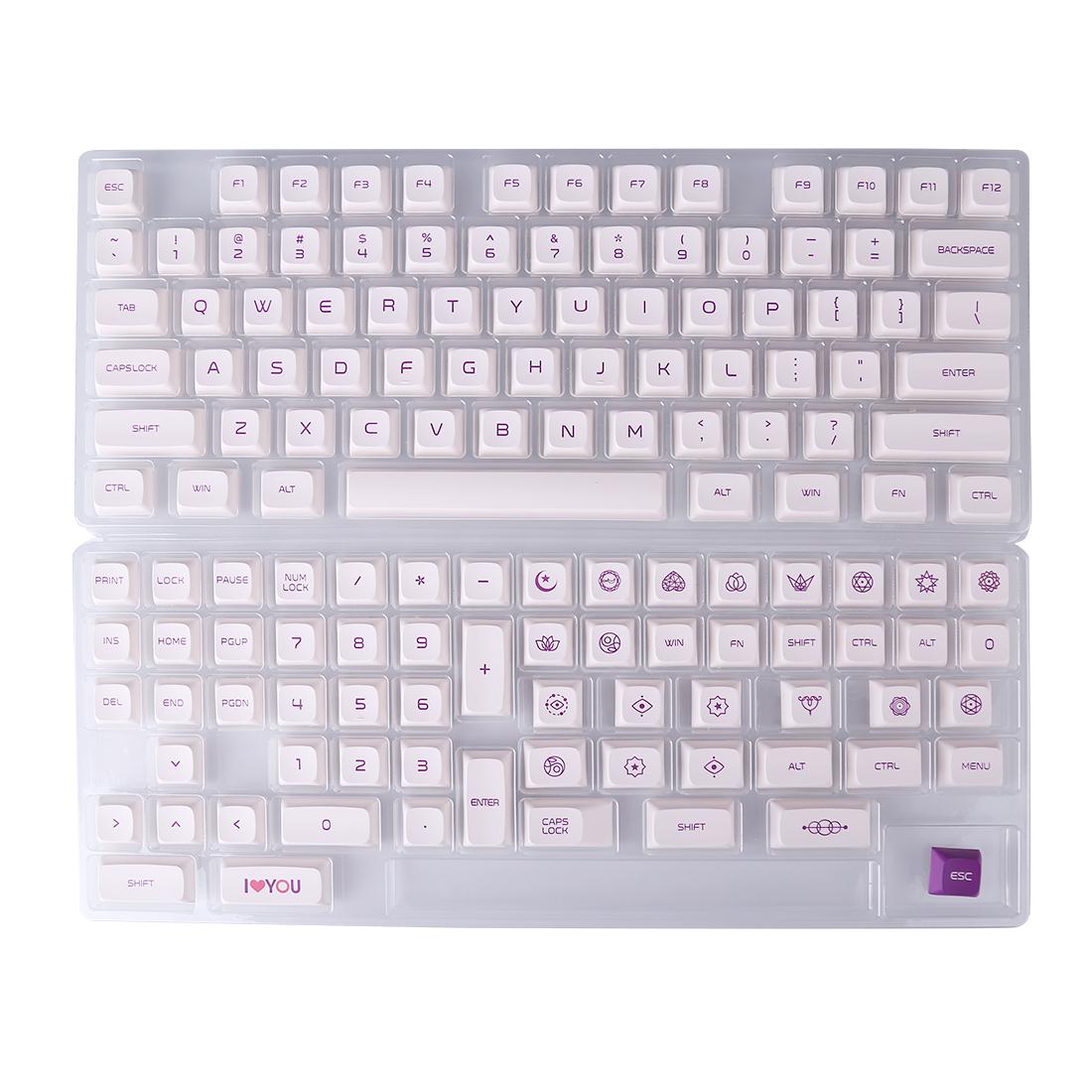 138pcs Milk White Keycaps Set PBT Dye-sub with Puller for 61/64/87/96/104 Keys GH60 /RK61 /Matrix /Joke Custom Gaming Mechanical Keyboard