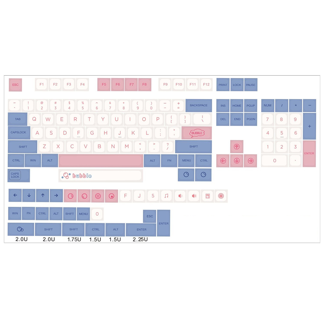 139pcs Bubble Pattern Keycaps Set QX1 Height PBT Dye-sub for 61/87/104 Keys /GH60/RK61/Matrix/Joke Custom Gaming Keyboard