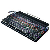 84 Keys TW1867 Retro Typewriter Gaming Mechanical Keyboard Wired Bluetooth with Punk Keycaps Phone iPad Holder
