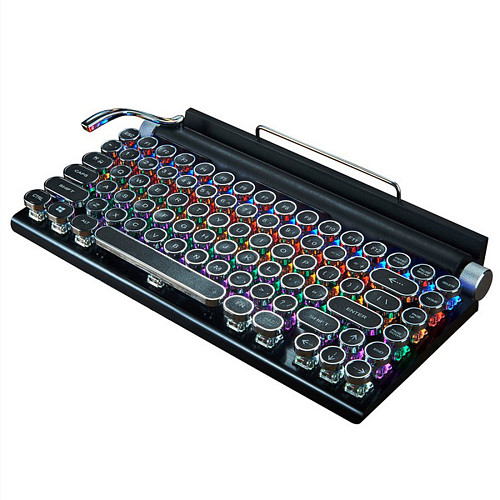 TW1867 84-Key Retro Typewriter Gaming Mechanical Keyboard Wired Bluetooth with Punk Keycaps Phone iPad Holder