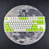 87 Keys Mechanical Gaming Keyboard Custom Hot Swappable (White Green Keyboard + White Light)