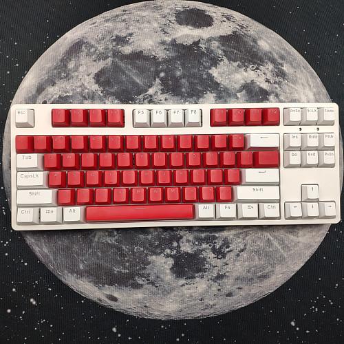 87 Keys Mechanical Gaming Keyboard Custom Hot Swappable (White Red Keyboard + White Light)
