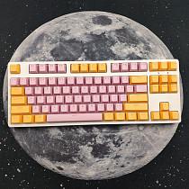 87 Keys Mechanical Gaming Keyboard Custom Hot Swappable (Pink Yellow Keyboard + White Light)