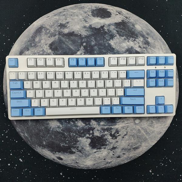 87 Keys Mechanical Gaming Keyboard Custom Hot Swappable (White Blue Keyboard + White Light)