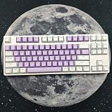 87 Keys Mechanical Gaming Keyboard Custom Hot Swappable (White Purple Keyboard + White Light)