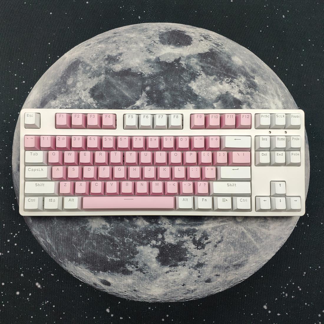 87 Keys Mechanical Gaming Keyboard Custom Hot Swappable (Pink White Keyboard + White Light)