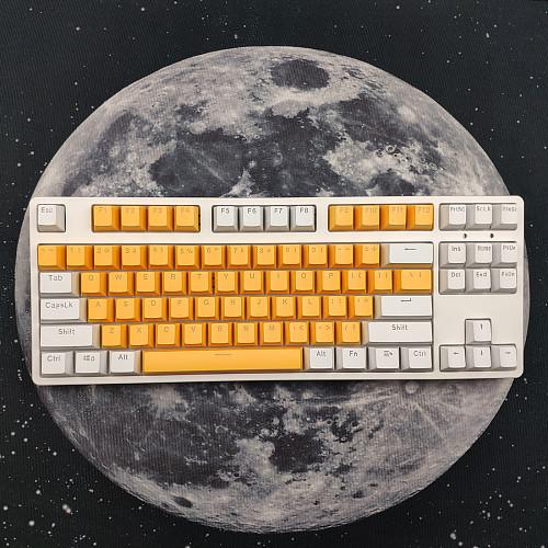87 Keys Mechanical Gaming Keyboard Custom Hot Swappable (White Yellow Keyboard + White Light)