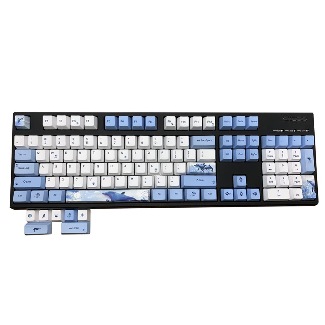 115pcs Blue Whale Keycaps Set OEM Profile PBT Dye-sub for Ajazz AKKO Keyboard
