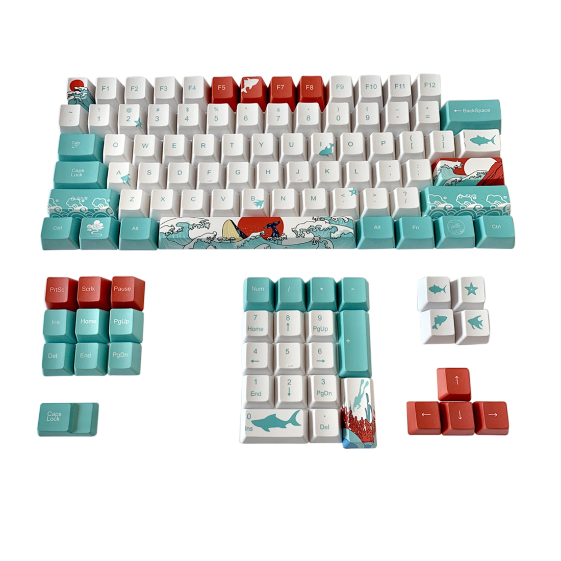 108pcs Coral Sea Keycaps Set OEM Profile PBT Dye-sub for for GK64/GH60/68F11 Custom Gaming Mechanical Keyboard