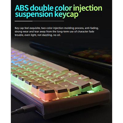 Magic-Refiner MK25 61-Key Gaming Mechanical Keyboard 60% RGB Backlit Wired Doubleshot Pudding Keycaps