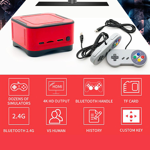 5000 Games Mini HD Game Box Portable Wireless Game Console with Black Red Wired Gamepads (64G)