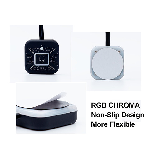 Desktop Computer Switch RGB Light Effects External Power Button with Dual USB Ports - Green Light