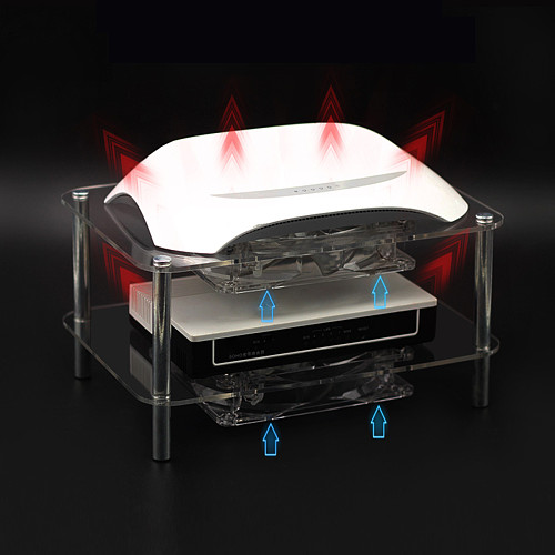Silent Radiator Cooling Fan Acrylic Rack Double-layer 2 Fans with USB Cable for Router/Set Top Box/Media Box