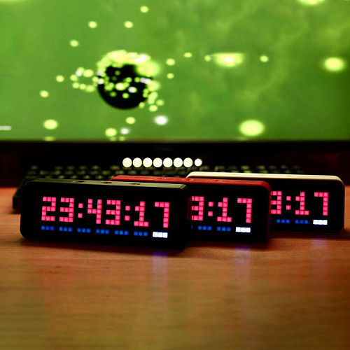 32 x 8 IOT 2.0 Pro Mini Colorful LED Digital Clock Smart Snooze Table Clocks with Weather and Temperature - Black