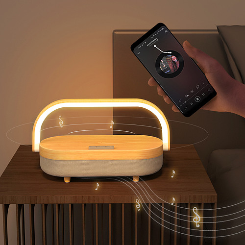 Tabletop Night Light Wireless Charger Bluetooth Speaker Music Lamp with Phone Holder (Built-in lithium Battery Version)