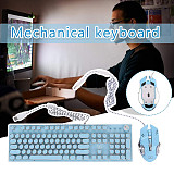X9VR 104-Key Retro Steampunk Gaming Mechanical Keyboard Blue Switch Keycaps with Mouse