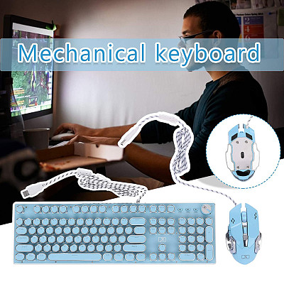 X9VR Punk Round Keycaps Gaming Mechanical Keyboard USB Wired White Backlight