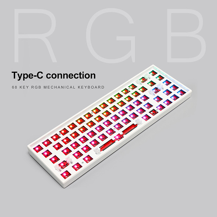 Customized Keyboard Kits 68-Key RGB Backlit Wired Bluetooth 2.4G 3-mode Mechanical Keyboard Hot Swappable Switches