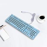 X9VR Retro Punk Gaming Mechanical Keyboard USB Wired Keyboard Round Keycaps Backlight