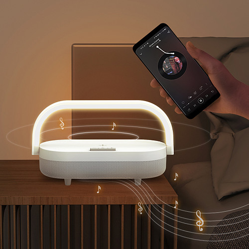 Multifunction Portable Night Light Wireless Charger Bluetooth Speaker Music Lamp with Phone Holder (Plug-in Version)