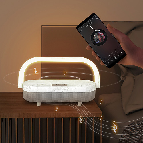 Multifunction Portable Night Light Wireless Charger Bluetooth Speaker Music Lamp with Phone Holder (Built-in lithium Battery Version)