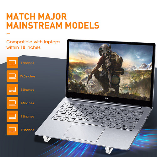 Foldable Laptop Cooling Pad Riser Portable Computer Stand with 3 Cooling Fan and RGB Lights