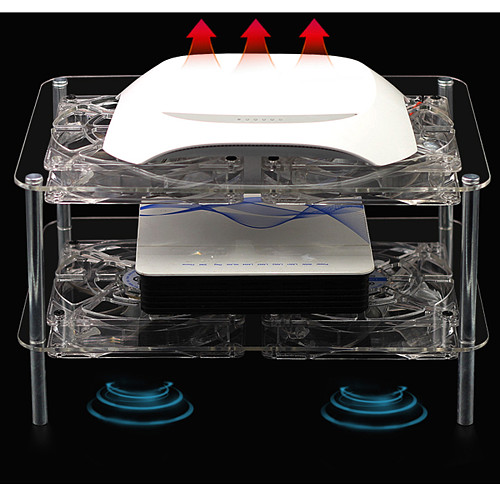 Silent Radiator Cooling Fan Acrylic Multi-layer Rack Double-layer 4 Fans with USB Cable for Router/Set Top Box/Media Box