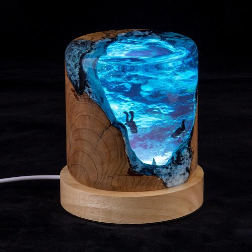 Diver Exploring Unique Desktop Resin Light Night Handmade Gaming Room Decor