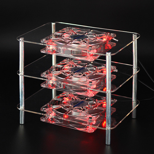Silent Radiator Cooling Fan Acrylic Multi-layer Rack Three-layer 3 Fans with USB Cable for Router/Set Top Box/Media Box