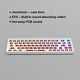 Customized Keyboard Kits 68 Keys RGB Backlit Wired Bluetooth 2.4G Three-mode Mechanical Keyboard Hot Swappable Switches