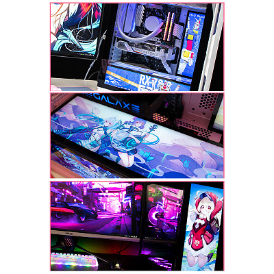 (Horizontal Version) Custom RGB Plate Anime 2D Character Poster Display Board with LED Lights for PC