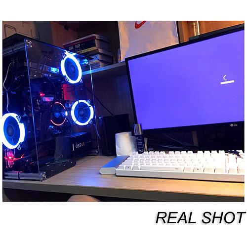 DIY Open PC Case Transparent Acrylic MATX Chassis with 2 Blue Light Fan and Cover (40x35cm)