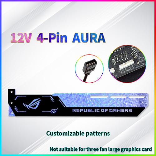 12V 4-Pin RGB Graphics Card Holder Blue GPU Support Video Card Holder Bracket