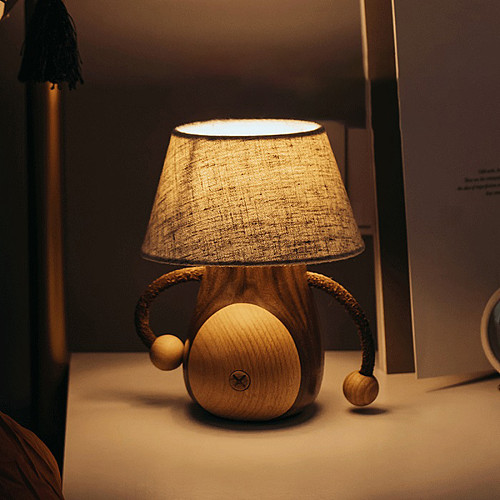 Creative Wooden LED Bedside Lamp Table Touch Night Light Gaming Room Decor