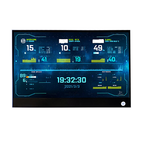 13.3-Inch 2560x1440 AIDA64 CPU Temperature Monitor Dynamic Display Screen for Computer Case Sub Display (Coffee Black Golden)
