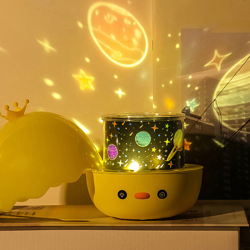 Creative Cartoon Duck Projected Night Light Music Box Gaming Room Decor