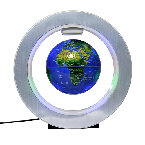 Magnetic Levitation Globe 4-Inch LED Night Light Creative Decor (English Sphere Dark Blue)