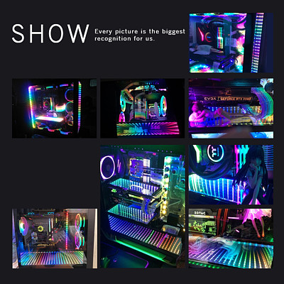 Full HD 2K Multi-Mode Function Mirrored Display Board with LED Lights for DIY Computer PC Case Decor without Logo