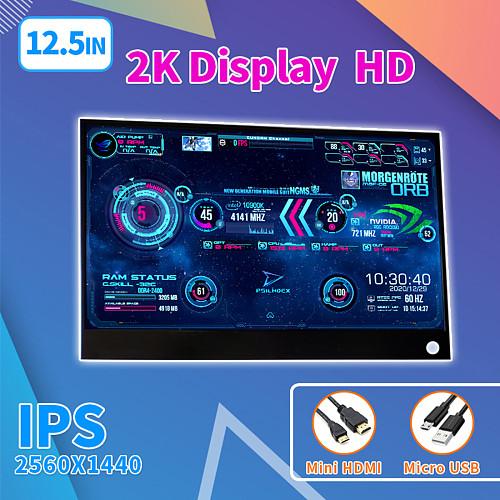 12.5-Inch 2560x1440 AIDA64 CPU Temperature Monitor Dynamic Display Screen for Computer Case Sub Display (Orange Black)