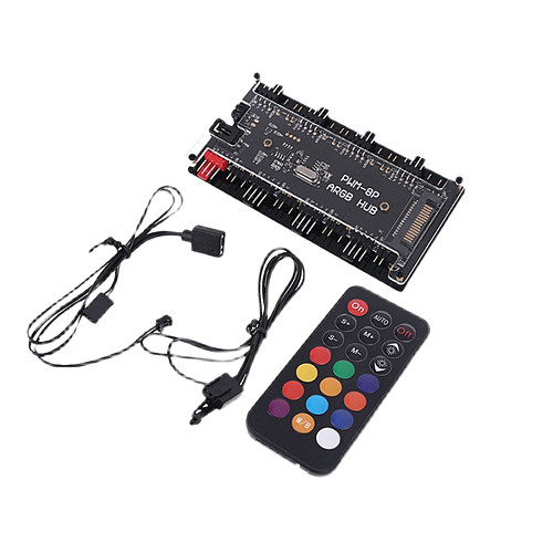 12V 4Pin PWM - 5V 3Pin ARGB Chassis Fan Hub 2-in-1 Hub One Point Eight Interface with Wireless Remote Control