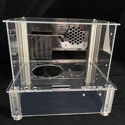 DIY Chassis Case ATX 24.4 x 30.5cm Open Style Full Transparent UV Printing Acrylic Desktop Computer Skeleton