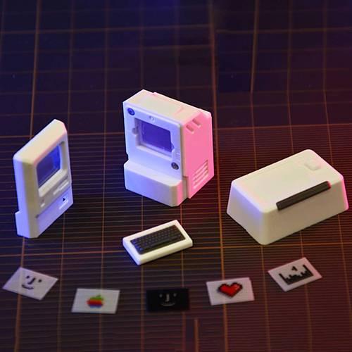 2pcs Keycaps Macintosh Retro 80s Translucent Light Transmission for Mechanical Keyboard (Esc+Tab Keycaps)