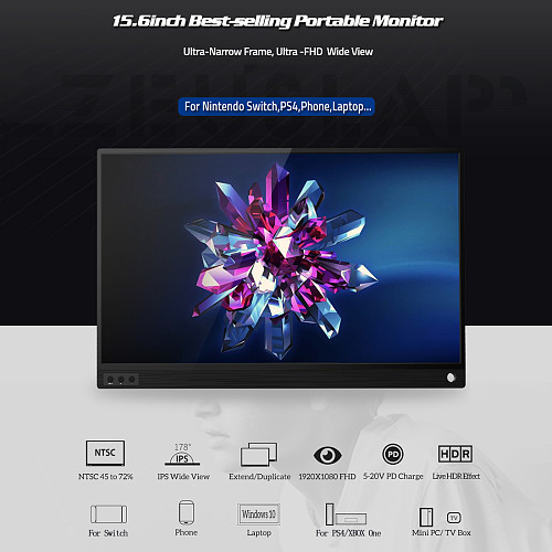 Gaming Monitor 15.6-inch Full HD LCD Display for PS3/PS4/PS5/XBOX ONE/Switch/TV Box