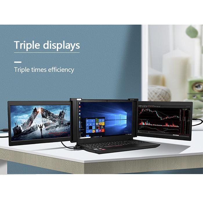 11.6-inch Triple Gaming Monitor Full HD IPS Dual Monitor Screen Extender IPS 1920x1080P HDMI/USB/Type-C Plug & Play Portable for 13.3-16 Mac/Windows/Chrome/Laptops