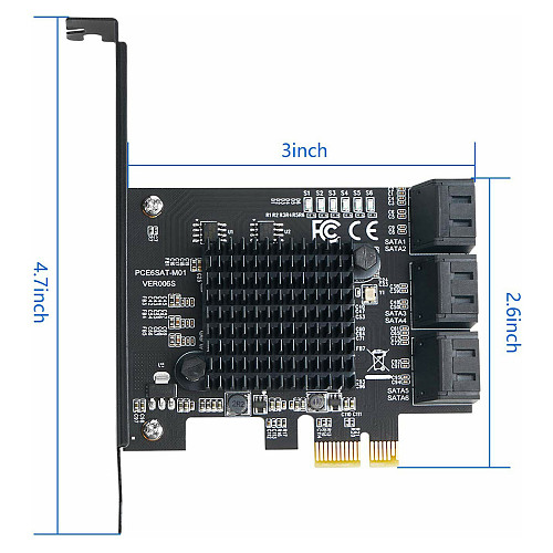 PCIE X1 SATA Gen3 6G Built-in Six-port SATA3.0 Disk Expansion Card
