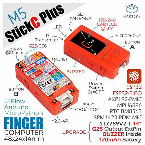 M5Stack M5StickC PLUS ESP32-PICO Mini IoT Development Kit BLE and WiFi Bigger Screen IoT Controller