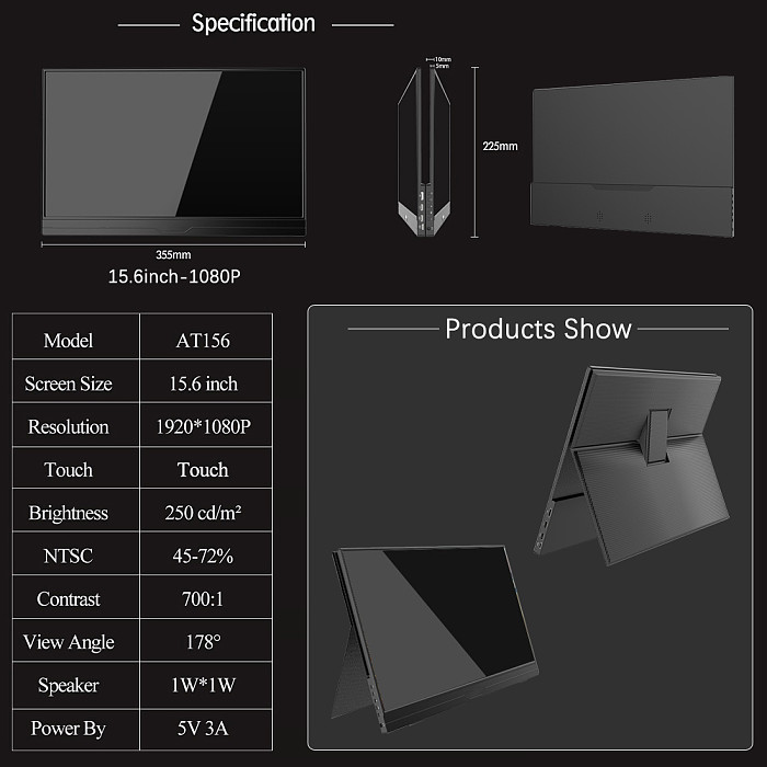 Gaming Monitor 15.6-inch Full HD LCD Touchscreen for PS4/Switch/XBOX/PC/Phone