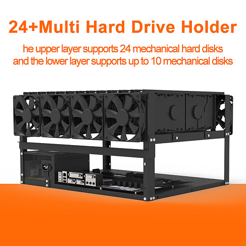 Open Style Chassis Frame 12/24/34 Hard Disk Storage Rack Support ATX Power Supply